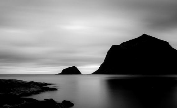 Lofoten panoramabilde sort/hvit